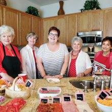 Left to right: Cheesy Chicks Joan Krause, Rosemary Weinstein, Gayle Coe, Jan Utzman and Peggy Crandell