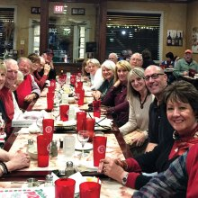 The Six O'Clock Somewhere wine group at our Christmas party at Portofino's in Krum