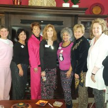 New members Patti Wallace, Vicki Baker, Rosemary Simecek, Mary Ann Carroll, Joan Frey, Arlene Stotts, Sheilah Ross, Joyce Ambre and Peggy Backes pose for the camera.