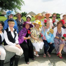 Southern ladies in their Derby finery