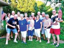 Back row: Joanie Price, Jim Price, Scott Lancaster, Wynn Lancaster, Candy Atchison, VB Atchison and Greg Lenski; front row: host Bob Brown, hostess Carolyn Brown, Joanne Urrutia, Cheryl Lenski, Jean Dubiel and Jim Zimmerman; missing from the picture: Jan and Jerry Angus, Joyce Betty