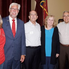 Newly elected Republican Club officers with Dr. Lynn Stuckey. From left to right Amy Enloe, Dr. Stuckey, Jim Linden, Joyce Amber, and Paul Vicalvi.