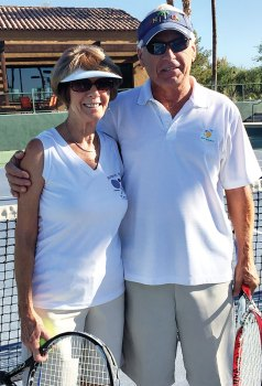 "Cookie and Clyde Smith participate in the pre-Wimbledon ""wear white"" tennis event."