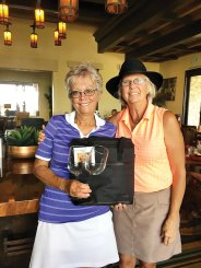 Second Flight winner: Low Net, Shirley Eliuk (presented by Betty Kumbera, Assistant Tourney Chair)