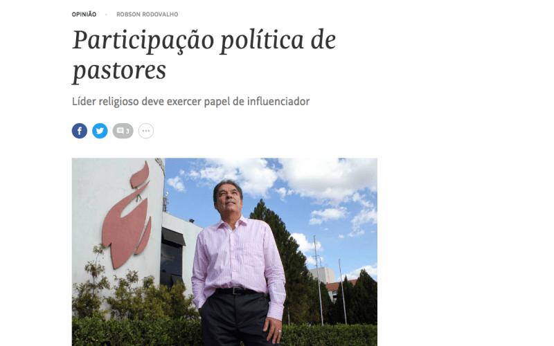 """""""Participação política de pastores"""", artigo que saiu hoje na Folha de São Paulo"""