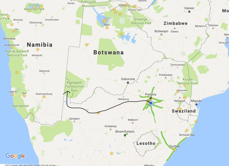 Johannesburg to Kgalagadi Transfrontier Park via Kuruman