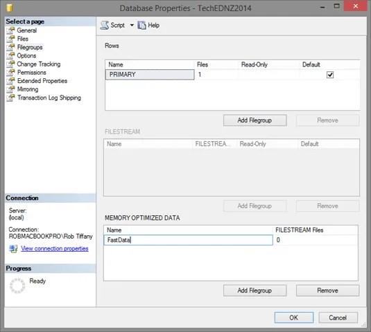 Memory Optimized Filegroup