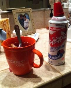 Tea and whipped cream.