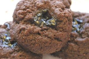 Peanut Butter Chocolate Cookies with Blueberry Jam