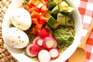 Spicy Cilantro Pesto Quinoa Bowl with Soft Boiled Eggs