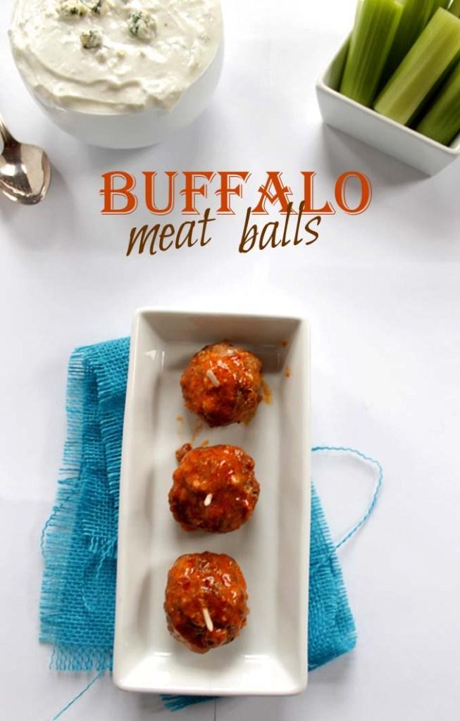 Buffalo Meat Balls with Blue Cheese Sauce. #GlutenFree