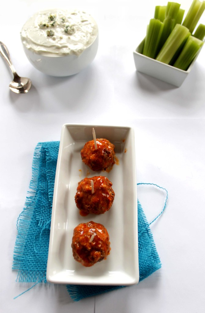Buffalo Meatballs with Blue Cheese Sauce (GF)