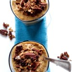 Pumpkin Spiced Pudding Topped with Pecan Crunch. Easy. Healthy. Delicious. #Vegan #Glutenfree