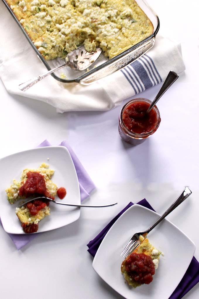 Cheesy Mexican Egg Casserole. Easy Breakfast. #Vegetarian #Glutenfree