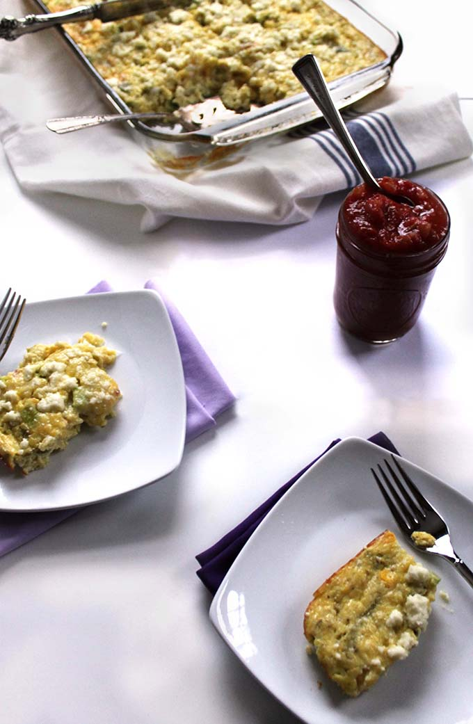 Cheesy Mexican Egg Casserole. Easy breakfast solution. #Vegetarian #Glutenfree