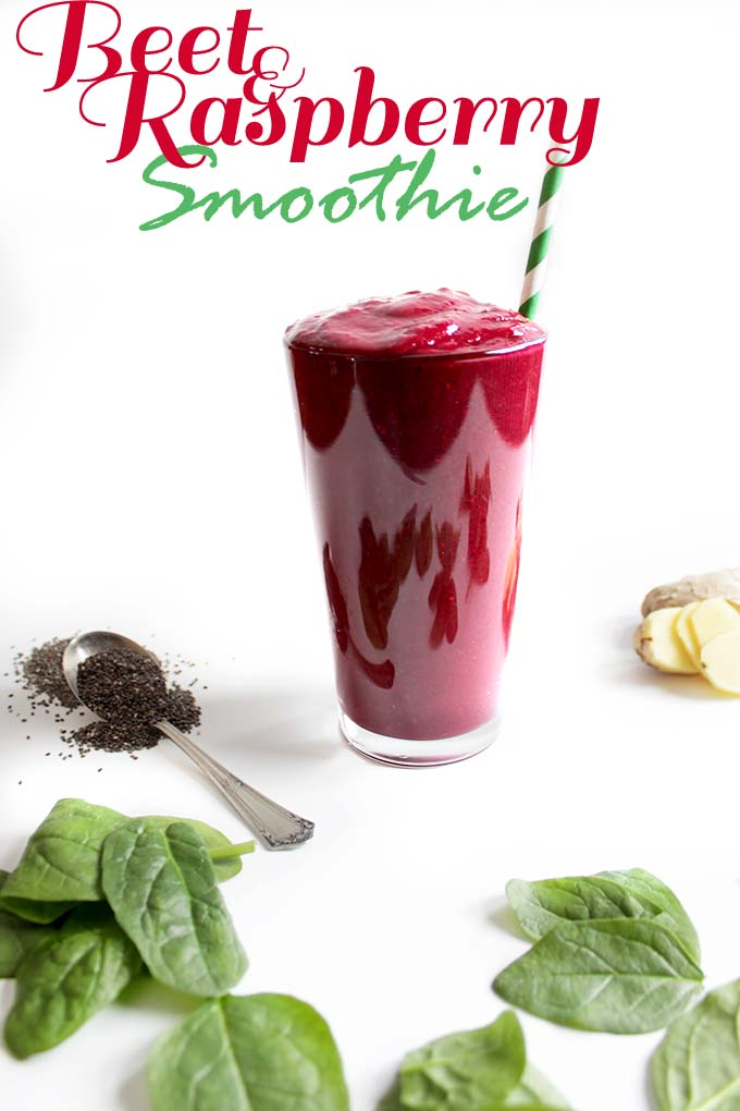 Beet and Raspberry Smoothie. Energizing. Detoxifying. Easy. Delicious. Colorful #Glutenfree #Vegan