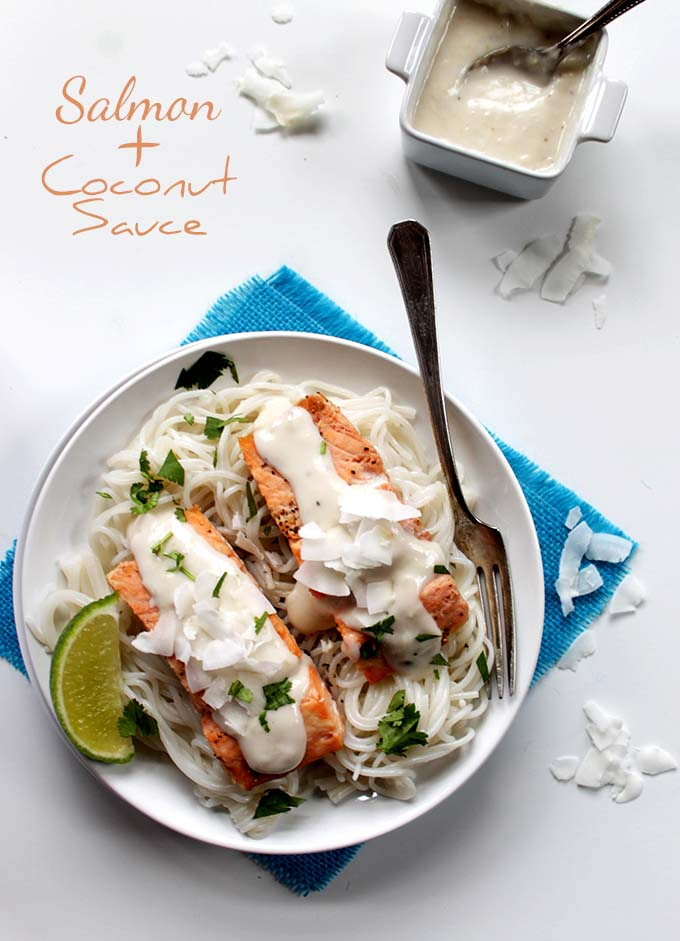 Salmon with Coconut Sauce. Simple. Healthy. Delicious #glutenfree #salmon