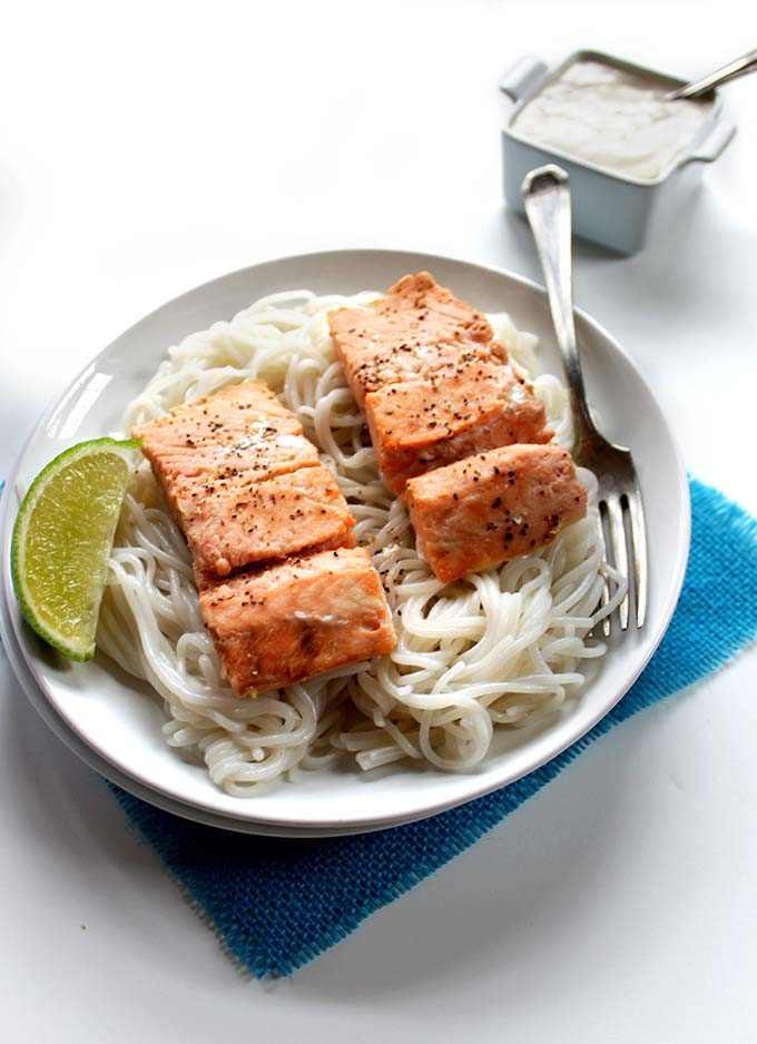 Salmon with coconut sauce. Simple. Delicious. Healthy #glutenfree