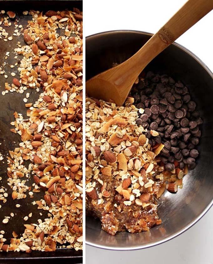 Almond Coconut Chocolate Chip Granola Bars. Easy. Healthy. Decidant. #GlutenFree #RefinedSugarFree #Vegan