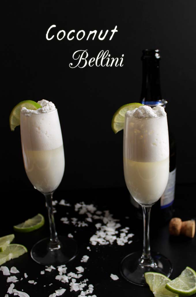 Coconut Bellini. Simple. Delicious. Easy #Cocktail