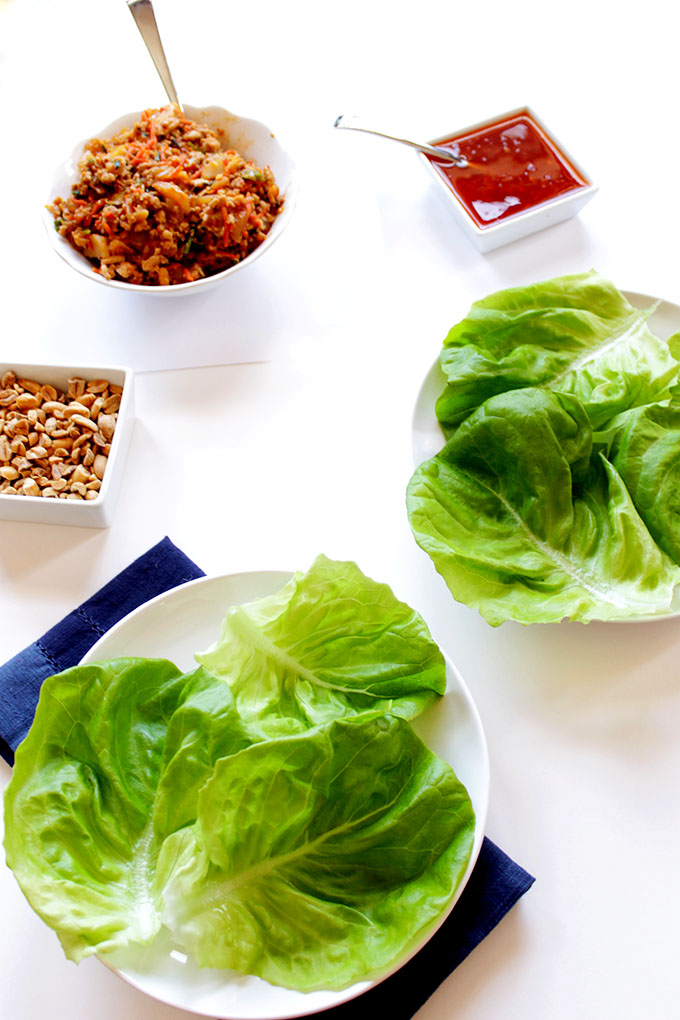 Thai Chicken Lettuce Wraps. Delicious. Spicy. #Healthymeal