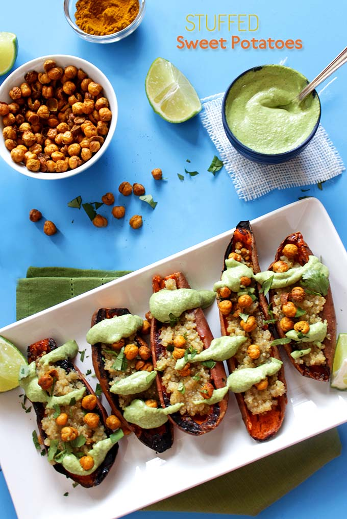 Coconut Quinoa Stuffed Sweet Potato Boats with Cilantro Lime Cashew Sauce. Easy, healthy meal or appetizer. #glutenfree
