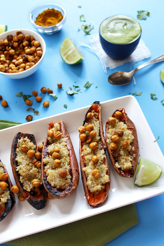 Coconut Quinoa Stuffed Sweet Potato Boats with Cilantro Lime Cashew Sauce. Fun, healthy appetizers or filling enough for a meal. #Glutenfree
