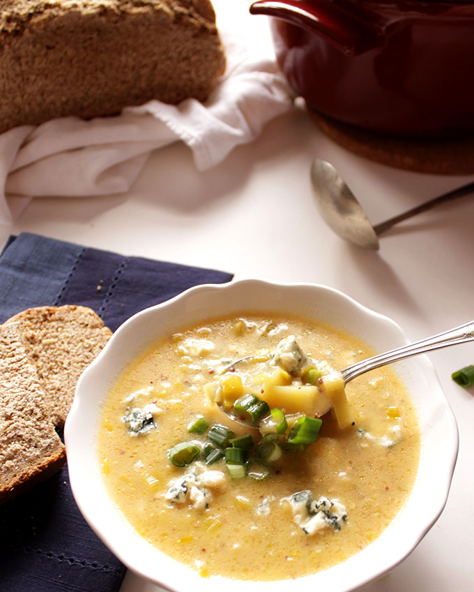 Leek Potato Blue Cheese Soup