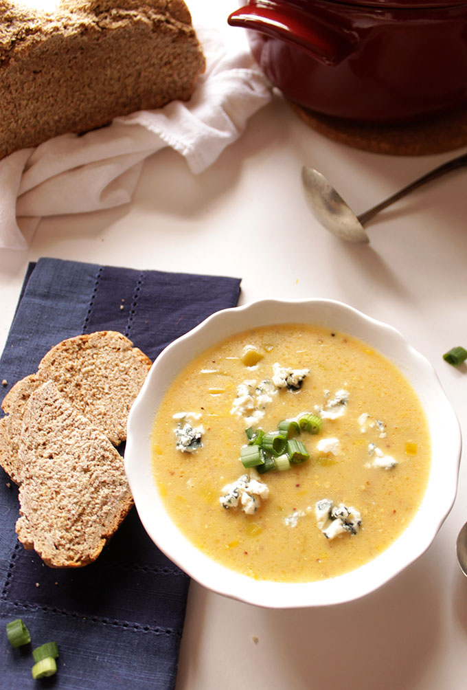 Leek Potato and Blue Cheese Soup. Simple. Hearty. #Vegetarian