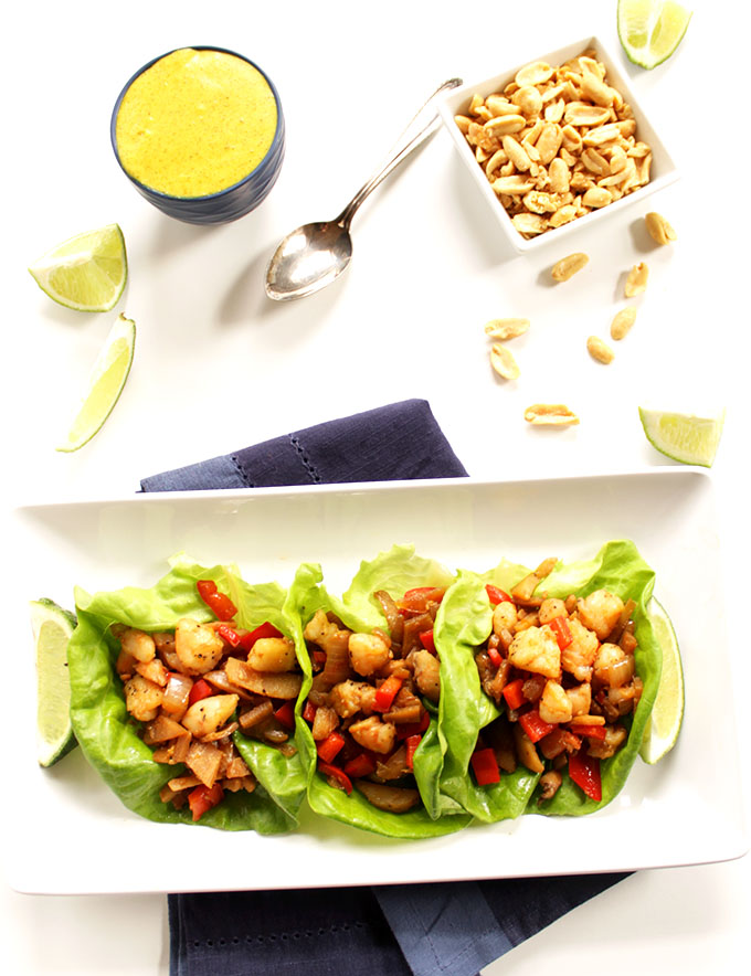 Shrimp Lettuce Wraps with Coconut Curry Sauce