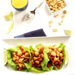Shrimp Lettuce Wraps with Coconut Curry Sauce. Easy, quick, healthy meal. #glutenfree