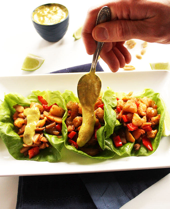 Shrimp Lettuce Wraps with Coconut Curry Sauce. Simple. Bursitng with flavor. Light and healthy! #glutenfree