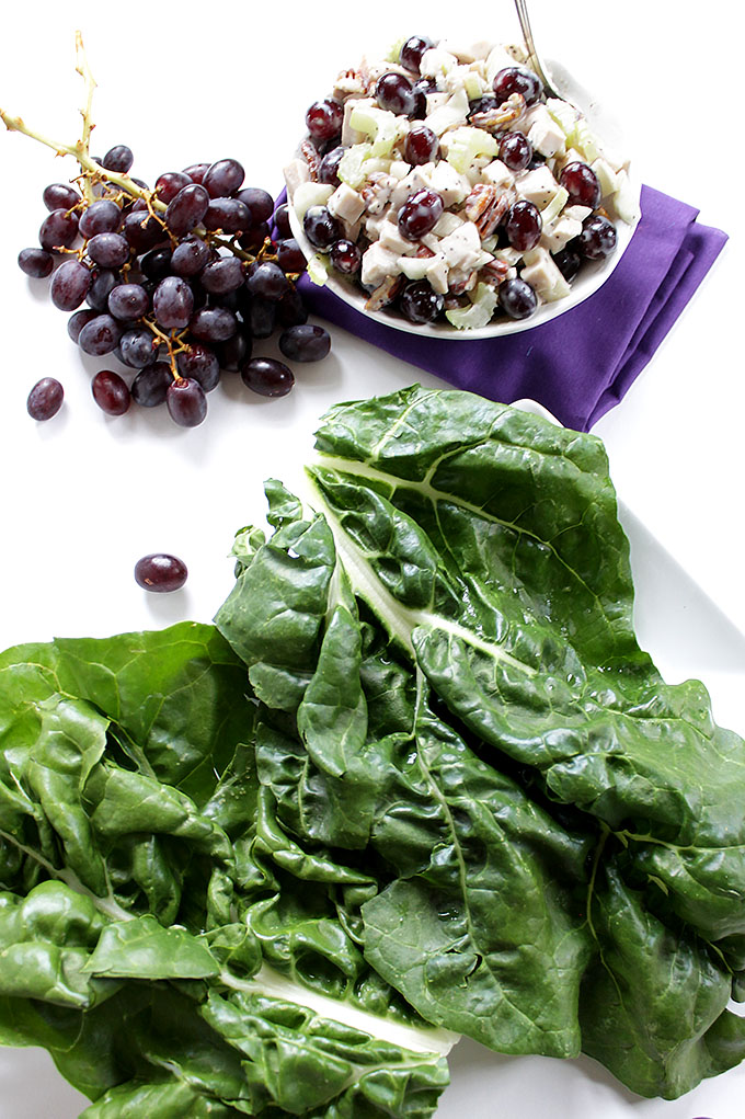 Chicken Sanoma Salad Swiss Chard Wrap. Simple, healthy, delicious meal that is perfect for summertime. #glutenfree #lowcarb