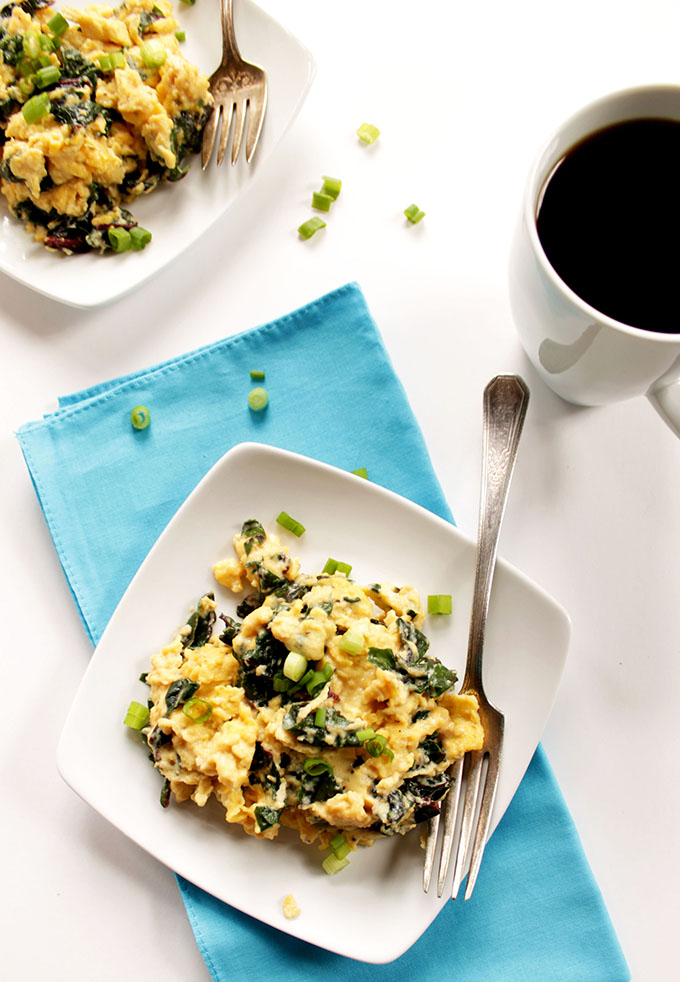 Goat Cheese Scrambled Eggs with Swiss Chard. Quick and easy #breakfast. #glutenfree