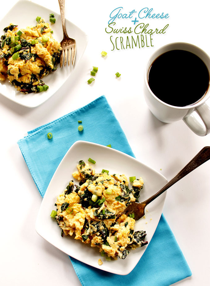 Goat Cheese Scrambled Eggs with Swiss Chard. The perfect weekday #Breakfast. #glutenfree