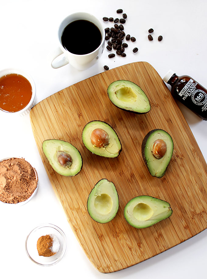 Ingredients for Chocolate Coffee Avocado Pudding
