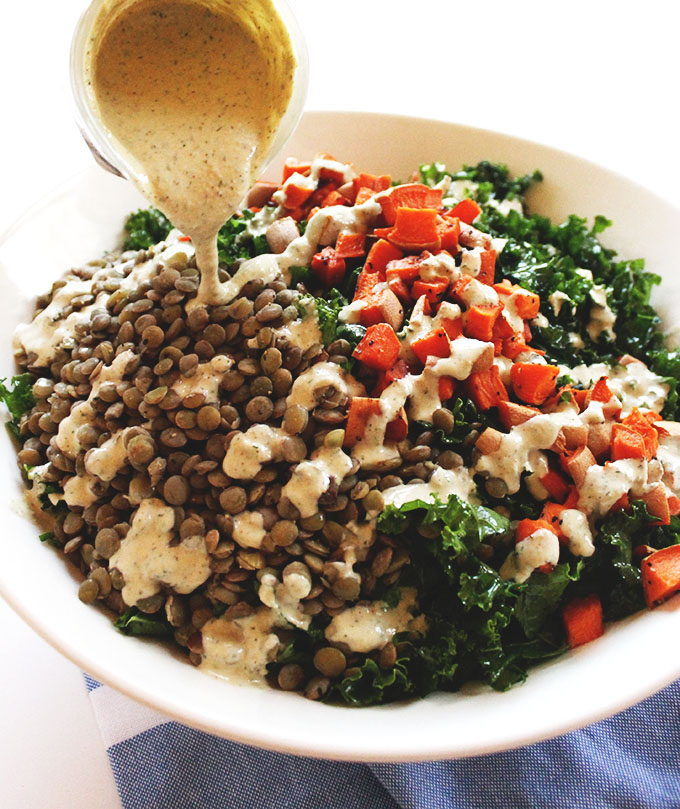 Warm Lentil and Sweet Potato Kale Salad with Creamy Tahini Dill Dressing. A complete vegan meal #glutenfree #vegan