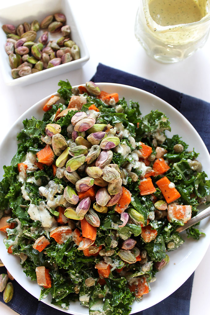 Warm Lentil and Sweet Potato Kale Salad with Creamy Tahini Dill Dressing. So satisfying and filling. #vegan #glutenfree