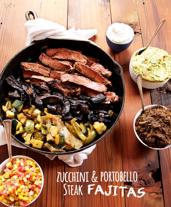 Zucchini and Portobello Mushroom Fajitas. Juicy, tender, steak that has been grilled. Sauteed mushrooms, zucchini, and peppers. Simple, and flavorful fajitas recipe! We love this recipe in the spring! Gluten Free | robustrecipes.com