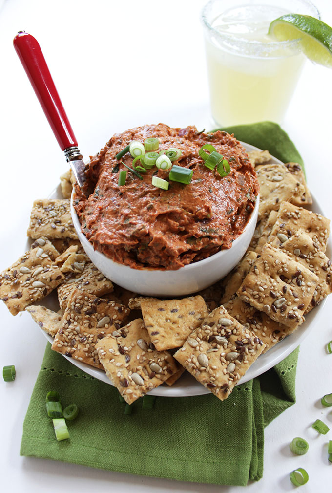 sundried tomato chipotle cream cheese dip. Simple, easy to make. Smoky and spicy. #partydip #cincodemayo #glutenfree
