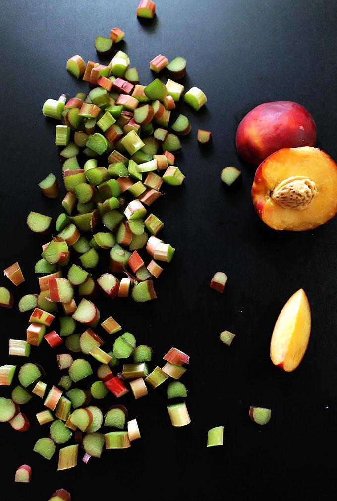 Rhubarb Peach Crisp. Tart, sweet, and crispy. #glutenfree #vegan