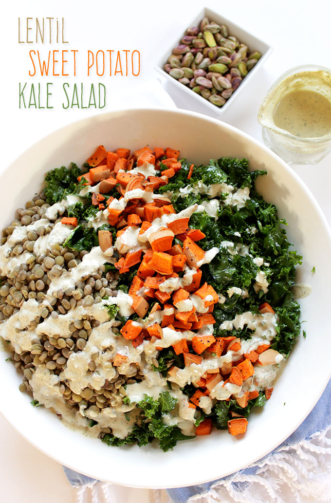 Warm Lentil and Sweet Potato Kale Salad with Creamy Tahini Dill Dressing. Filling. Complete vegan meal. Delicious warm or col. #vegan #glutenfree