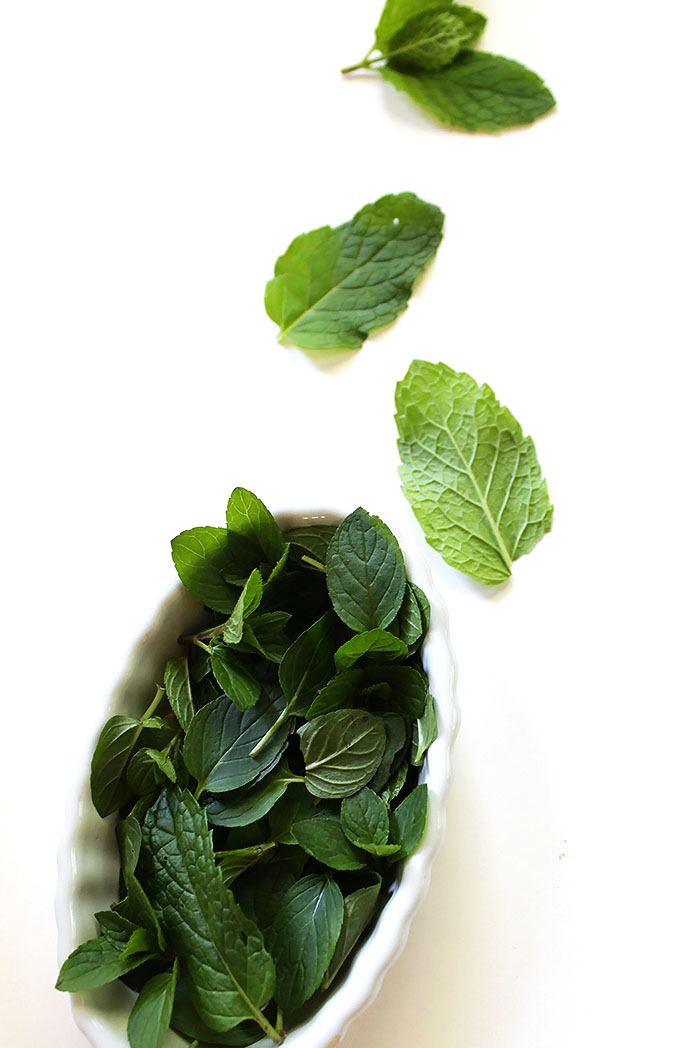 Mint leaves for coconut mojito fruit dip. Easy to make. Super delicious. Healthy. Perfect addition to any fruit tray