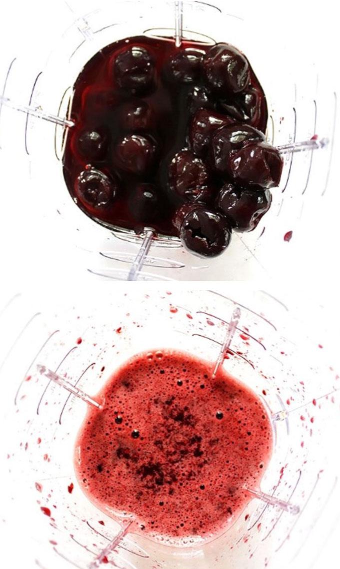 Puree frozen cherries to make cherry limeade. Simple to mkae. Refreshing. #glutenfree #vegan #refinedsugarfree