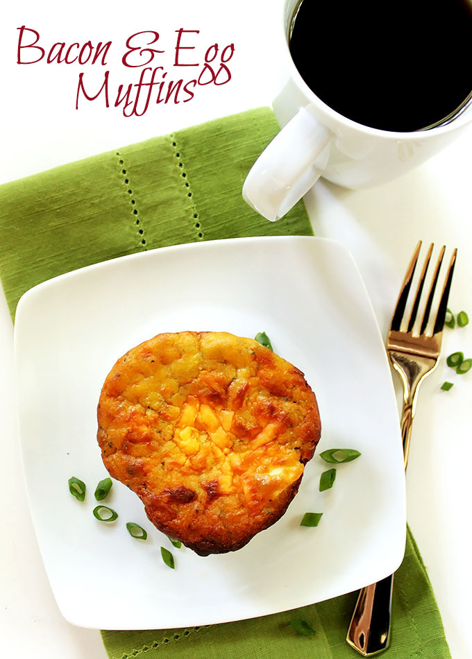 Bacon and Egg Breakfast Muffins. Savory, decedant. Perfect for an on-the-go breakfast. #glutenfree #breakfast | robustrecipes.com