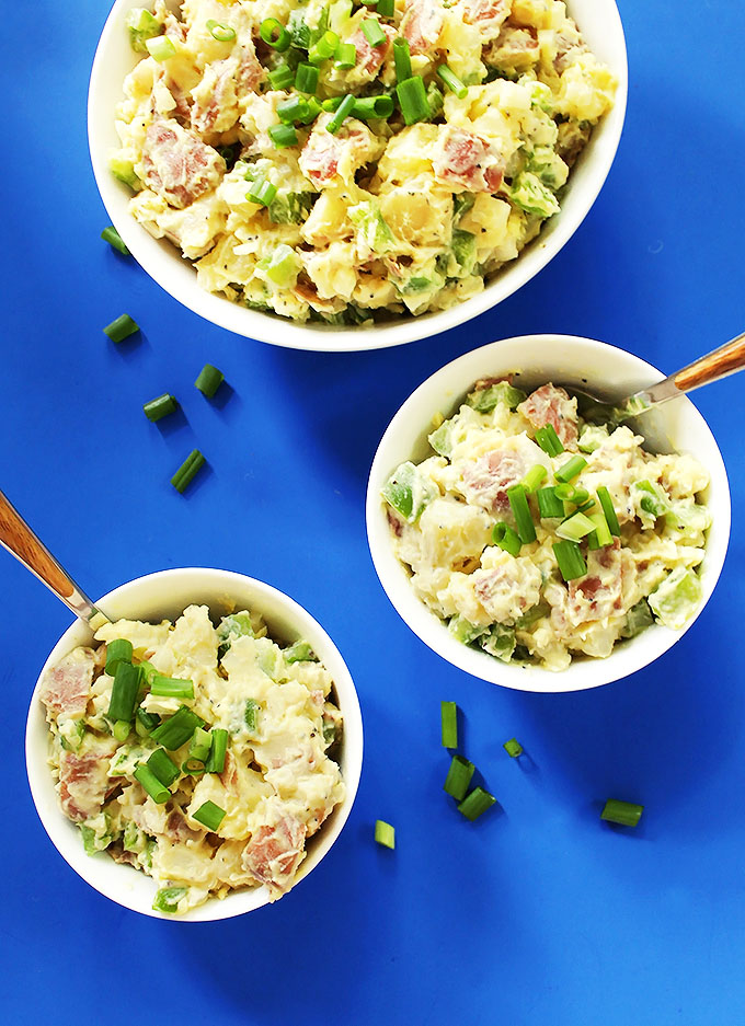 Classic Potato salad. Creamy, starchy, comforting. Perfect for a backyard bash! #vegetarian #glutenfree | robustrecipes.com