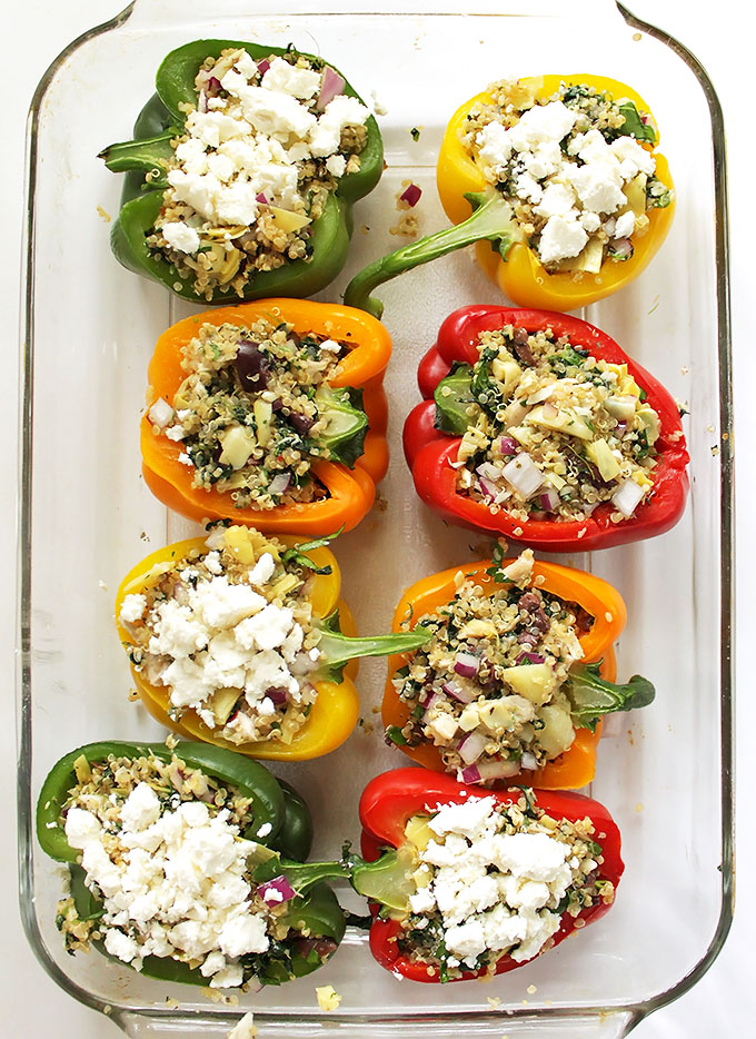 Greek Quinoa Stuffed Peppers. Simple to make. Filling, flavorful, healthy meal. #glutenfree #meal | robustrecipes.com