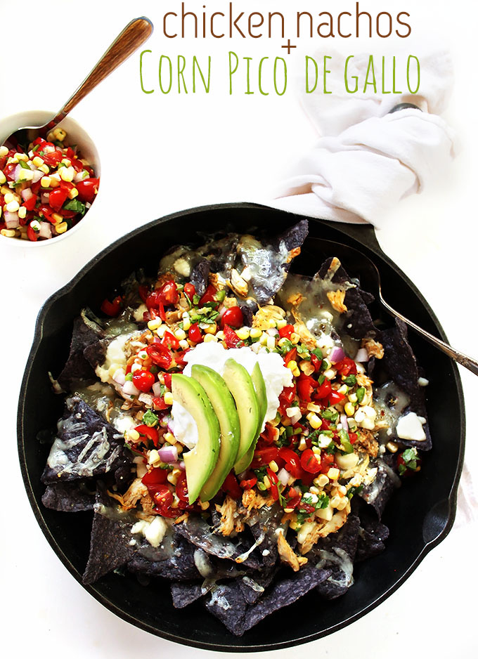 Shredded Chicken Nachos  with Corn Pico De Gallo. Simple. Filling. Satisfying. #glutenfree #nachos | robustrecipes.com