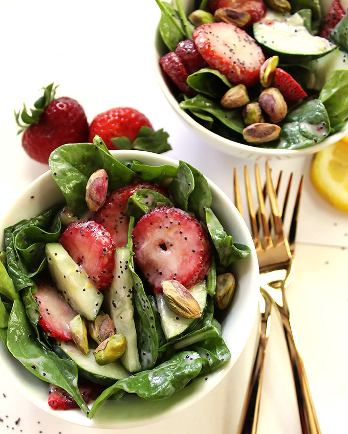 Strawberry cucumber salad with creamy lemon poppy seed dressing. A refreshing summertime salad. #vegetarian #salad | robustrecipes.com