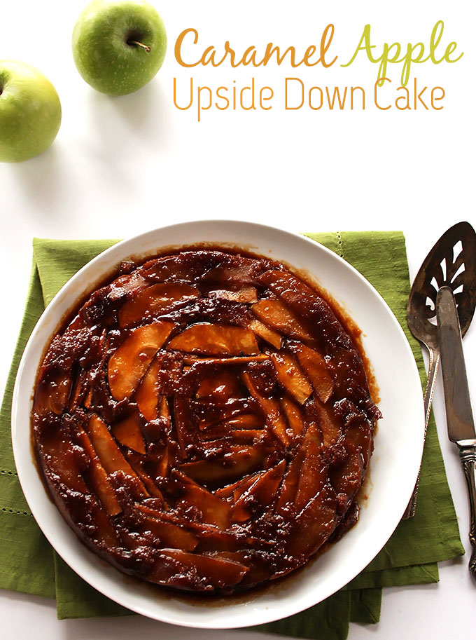 Caramel Apple Upside Down Cake. Tastes like a caramel apple baked on top of a delicious cake! #glutenfree